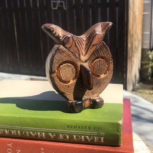 Vintage mid century modern wooden owl figurine